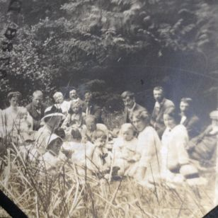 "A group of former prairie homesteaders, now Vargas Island ""ranchers"" gather for a pre-war picnic. Photo from Harold Monks' album."