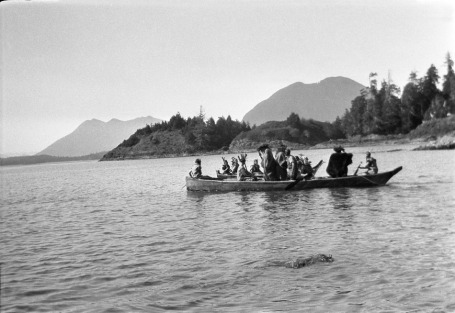 Snapshot from Harold Monks' album from the 1931 Captain Cook Landing Pageant -- local residents dress as Nootka Sound Indians meeting Captain Cook.